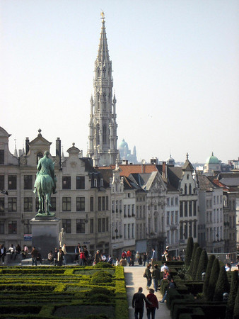 Equestrian statute of King Albert I (reigned as King of the Belgians from 1909 until 1934) - at the Garden of the Mont des Arts - across to the spire of the Stadhuis (Town Hall), rising to 315 ft. (96 m) - and the distal Koekelberg Basilica, rising 540 ft. (165 m), above  Brussels