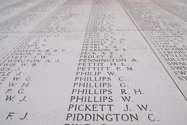 Menin Gate, Ieper, list of names