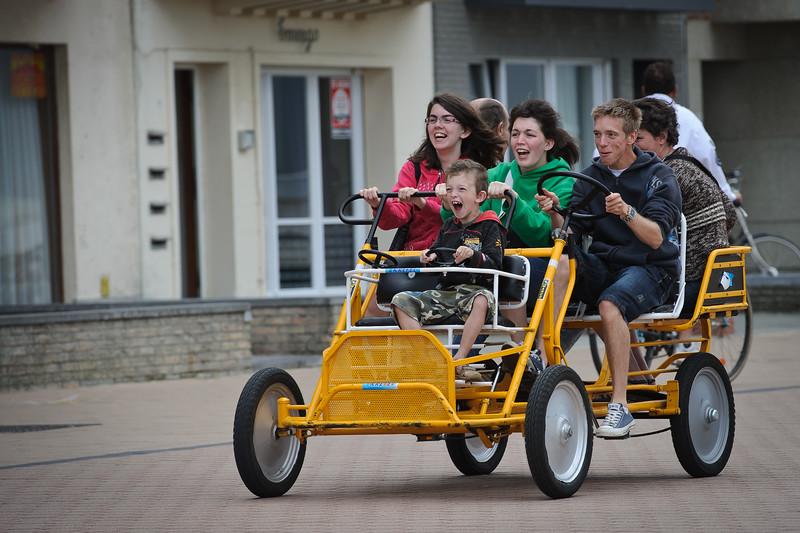 Having fun on a family go-cart