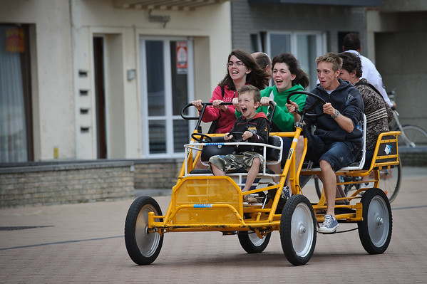 Having fun on a family go-cart