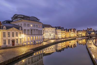 Korenlei at dusk Ghent, Belgium