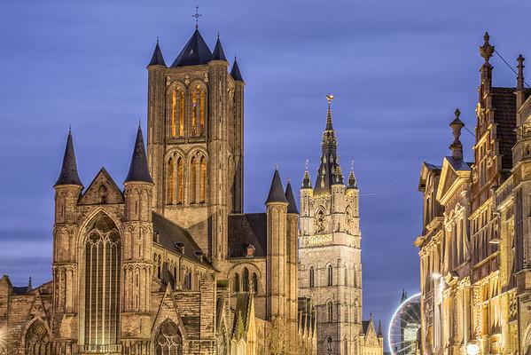 Churches at dusk, Ghent, Belgium
