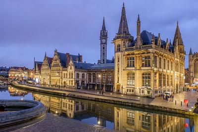 Graslei at dusk Ghent, Belgium