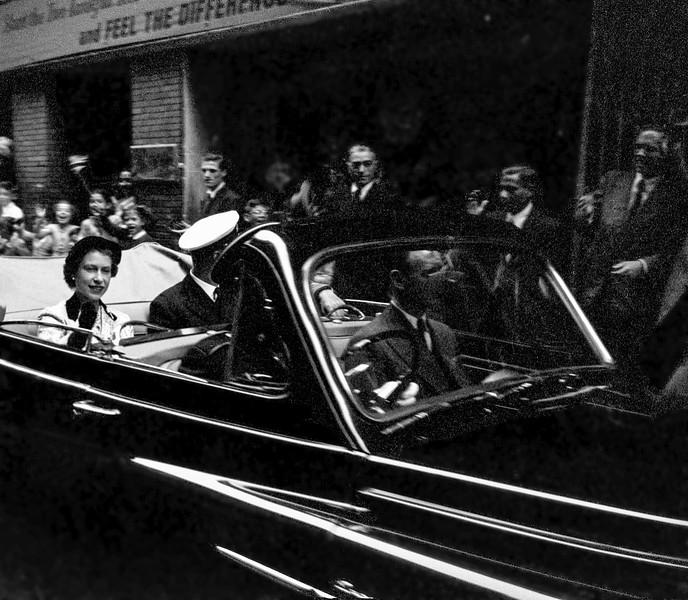 Queen Elizabeth II in Gibraltar with husband Philip - May 1954