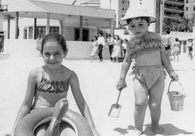 Mercedes with Florence on the beach in Tangiers - 1956