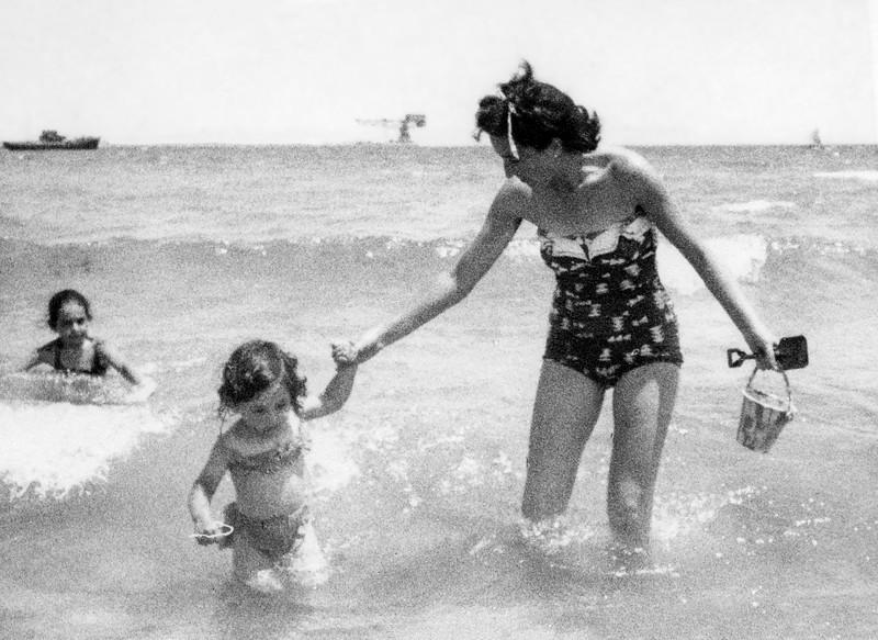Mercedes with Alegria in the Mediterranean Sea- 1956