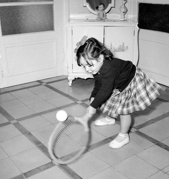 Mercedes playing tennis - October 1957