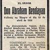 Abraham Bendayan obituary - April 23, 1958