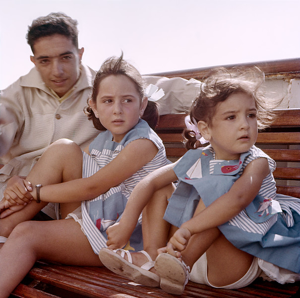 Jacky, Mercedes & Lisita on ship to Gibralta - 1961