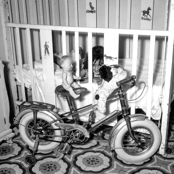 Lisita with Pierrot on bike - 1962