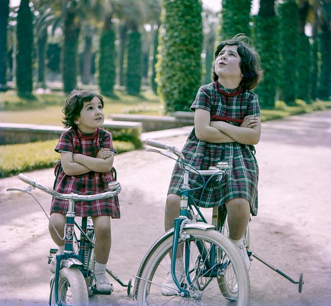 Mercedes & Lisita on their bikes - Lyautey Park - March 1961