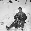 Lisita & Jacky sledding - March 1964