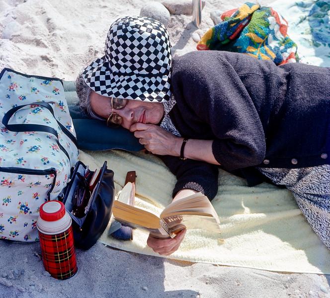 Mamé reading on the beach - June 4, 1967