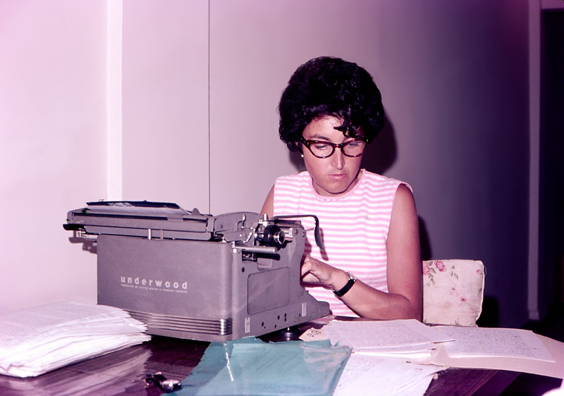 Alegria typing her thesis - August 1967