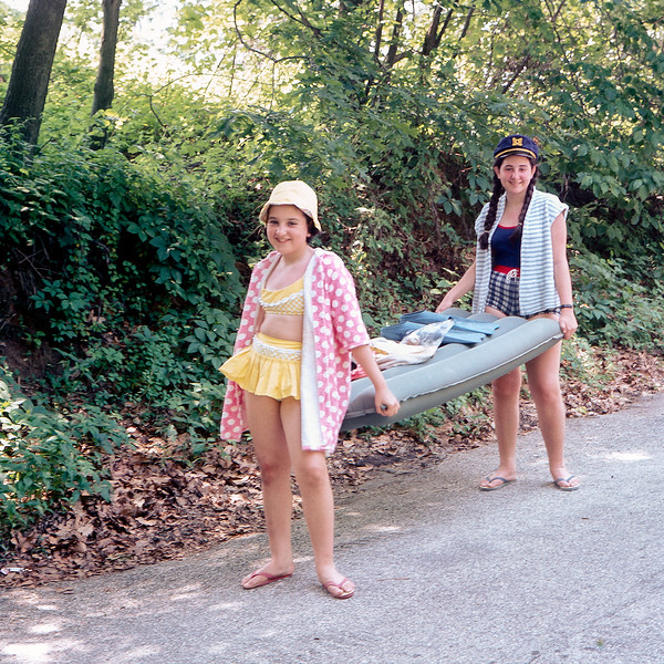 Woodcliff Park - Lisita & Mercedes carrying raft - July 1968