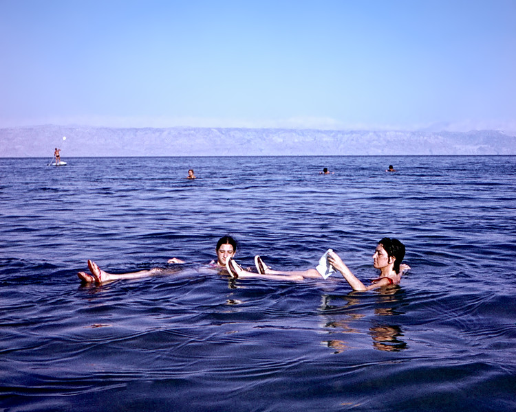 Alegria & Lisita floating on the Dead Sea