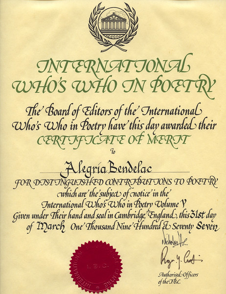 Alegria - International Who's Who in Poetry Award - March 1977