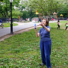 Playing badminton in the park - May 2015