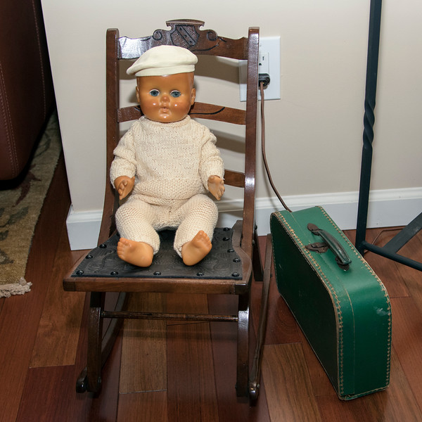 Pierrot with original suitcase seated on 1850's doll chair - 2017