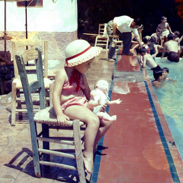 Mercedes & Pierrot by pool - 1957