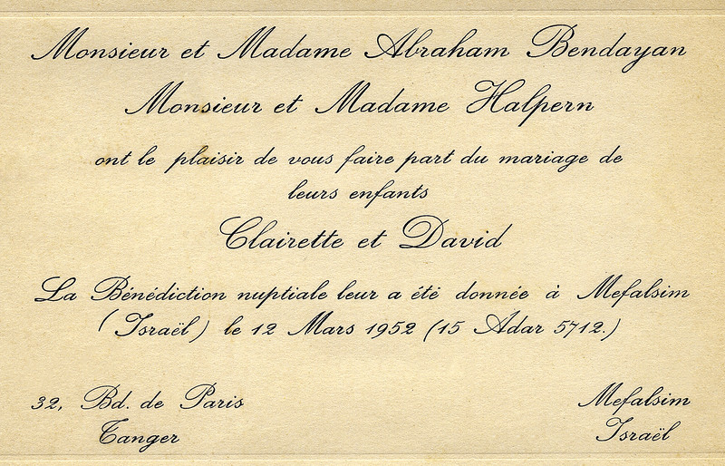 Clairette & David Wedding - March 12, 1952
