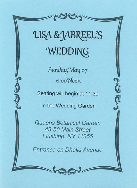 Lisa & Jabreel's wedding invitation