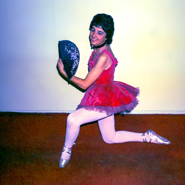 Alegria wearing the same red ballet tutu - ca. 1975