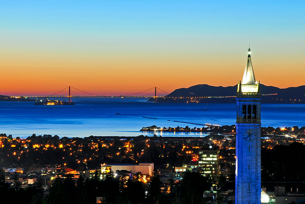 Blue Campanile and Golden Gate at Sunset