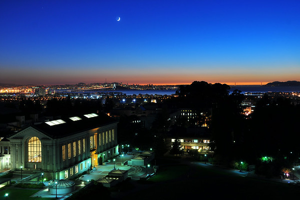 Sunset and Crescent Moon over Campus