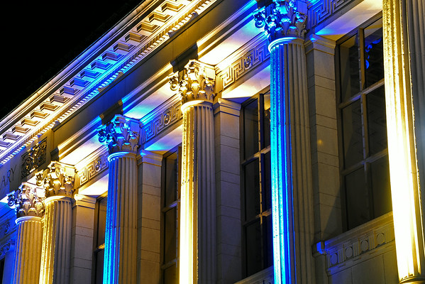 Blue & Gold Doe Library Columns
