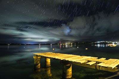harrington sound dock at night