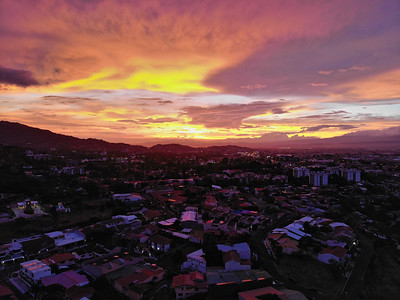 Sunset over the mountains in Escazu, Costa Rica
