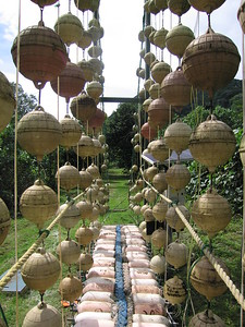 Bridge made out of recycled buoys and fishing material