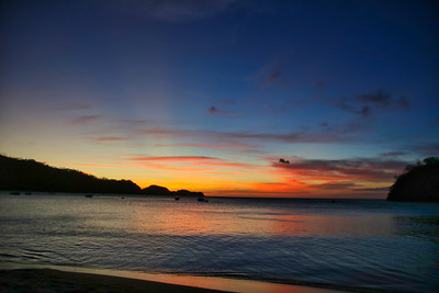 Sunset over the ocean with the beach in Costa Rica