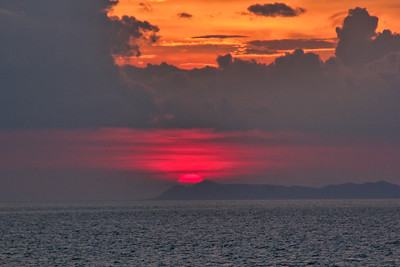 Tropical sunset over the the ocean in Costa Rica