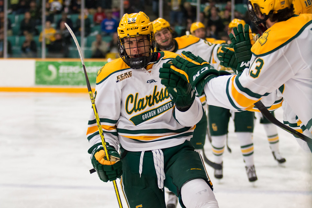 Clarkson Men Hockey after scoring the game-winning goal against Western Michigan University.