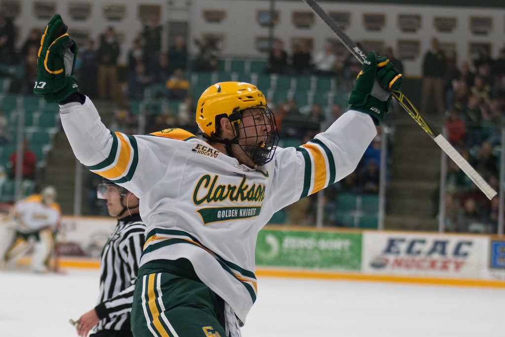 Clarkson Men Hockey captain Paul Geiger celebrating an early goal in their home match against Rochester Institute of Technology. The final score was 6-0 Clarkson.