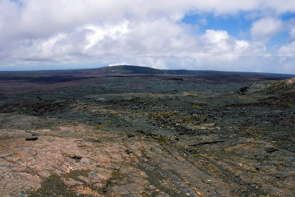 From Mauna Ulu Crater (east flank) - across the 1969-74 lava flow - to Makaopuhi Crater - and the steaming Pu'u 'O'o Crater beyond - Hawaii Volcanoes National Park