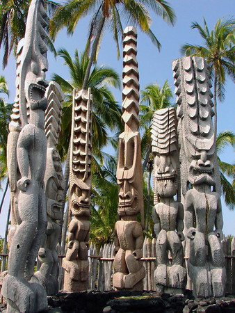 Tiki (name for carved wooden humanoid god statues in Polynesian culture - called Ki'i in Hawaiian culture