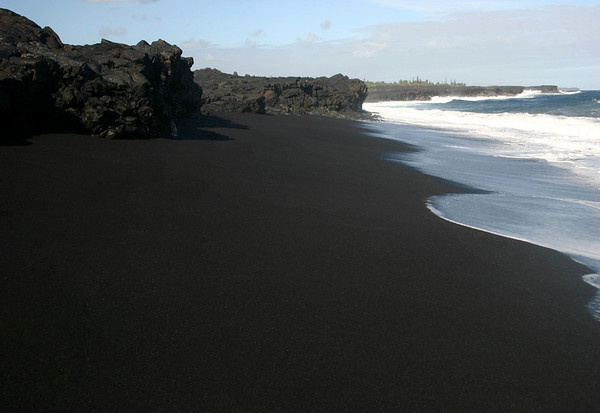 New Kaimu Black Sand Beach - formed by the 1990 lava flow - Puna district