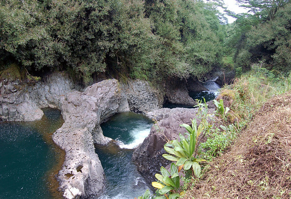 Boiling Pots, a series of 6 cascading pools formed into the lava rock - along the Wailuku River - Hilo district