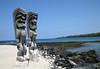 Beyond the Ki'i (ancient Hawaiian culture humanoid god statues) - Pu'uhonau o Honaunau National Historical Park - at Honaunau Bay - Kona district