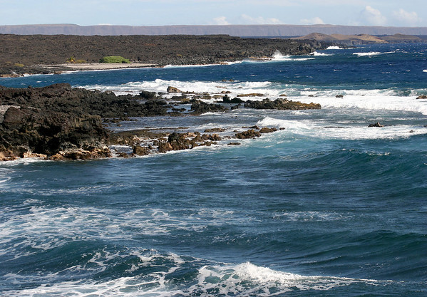 Pohue Bay - at the end of the Road to the Sea - with the southern flank of the Mauna Loa Volcano along the horizon - Kaʻū district