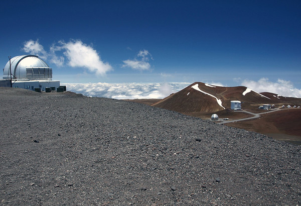 United Kingdom Observatory - down to the Caltech Submillimeter Observatory, James Maxwell Radio Telescope, and the Submillimeter Array of Radio Telescopes - atop the Mauna Kea Volcano - Hamakua district