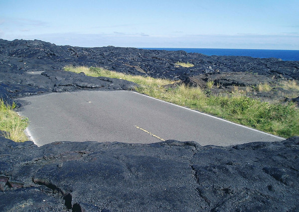 The end of the Chain of Craters Road - which was covered up by the Mauna Ulu lava flows fromn 1969-74 - Hawaii Volcanoes National Park