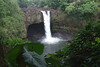 Waianuenue Falls - locally called Rainbow Falls - an 80 ft. (24 m) tall cataract and plunge waterfall, along the Wailuku River - behind the falls is a lava cave, home of Hina, mother of the demigod Maui (Polynesian/Hawaiian mythology) - Hilo district