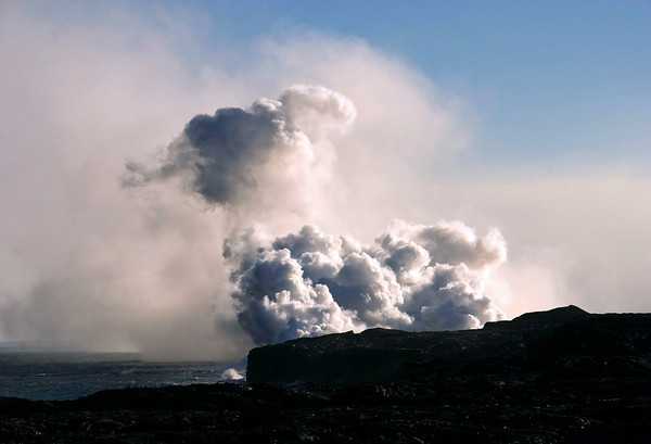Late afternoon sunlight upon a Volcanic Steam Cloud - Hawaii Volcanoes National Park