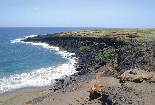 Papakolea (Green Sand Beach) - Mahana Bay - viewing southwestward towards South Point (2 mi./3 km) away to the southern most tip of the island - Kaʻū district