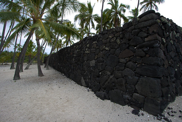 The Great Wall at Pu'uhonau - built in the 1500's, it measures about 1,000 ft. (305 m) long, 10 ft. (3 m) high, and 17 ft. (5 m) thick in most places - Kona district