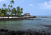 Across the mouth of Keone'ele (the cove for the royal canoe landing) - to Hale o Keawe (a mausoleum that housed the bones of 23 Ali'i (chiefs) - located at Pu'uhonua (Place of Refuge) - Kona district